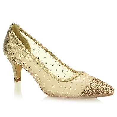 b21dc82e063 Aarz Women Ladies Evening Court Diamante Low Heel Sandal Prom Party Wedding  Bridal Shoes Size (