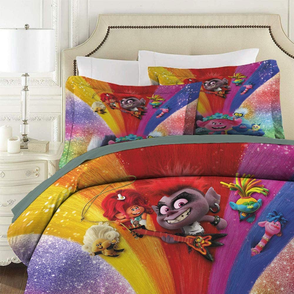 Movie Cartoon Character Trolls 2 World Tour Comforter Bedding Set 3 Piece Set Printed Comforter Set 3Pcs EU Twin Sing 135 x 200 cm for Any Bed Room Or Guest Room 1 Comforter Cover /& 2 Pillowcases