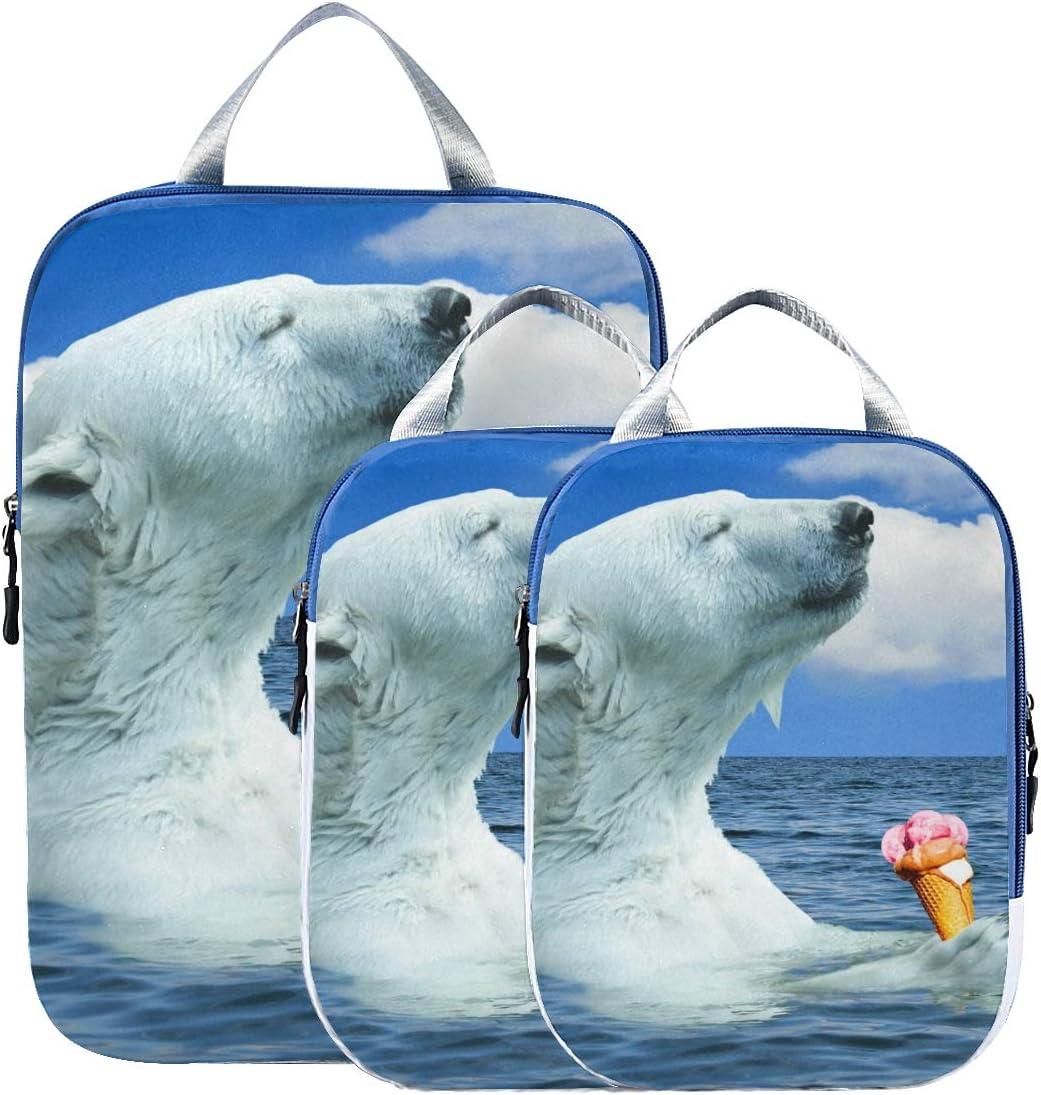 t Polar Bears Eat Ice Cream 3 Set Packing Cubes,2 Various Sizes Travel Luggage Packing Organizers