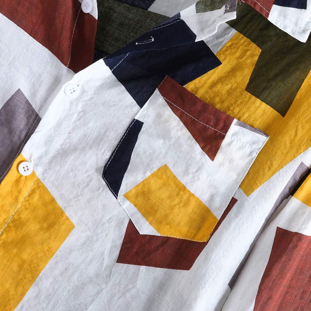 Mens Regular-fit Long-Sleeve Print Shirt Lapel Hawaii Vacation Dress Shirts Loose Blouse KLGDA