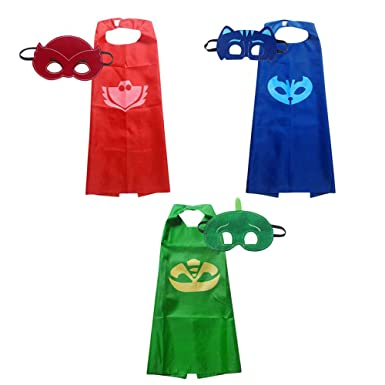 PJ Mask Satin Capes & Matching Masks Set Kids Superhero Costumes for Parties