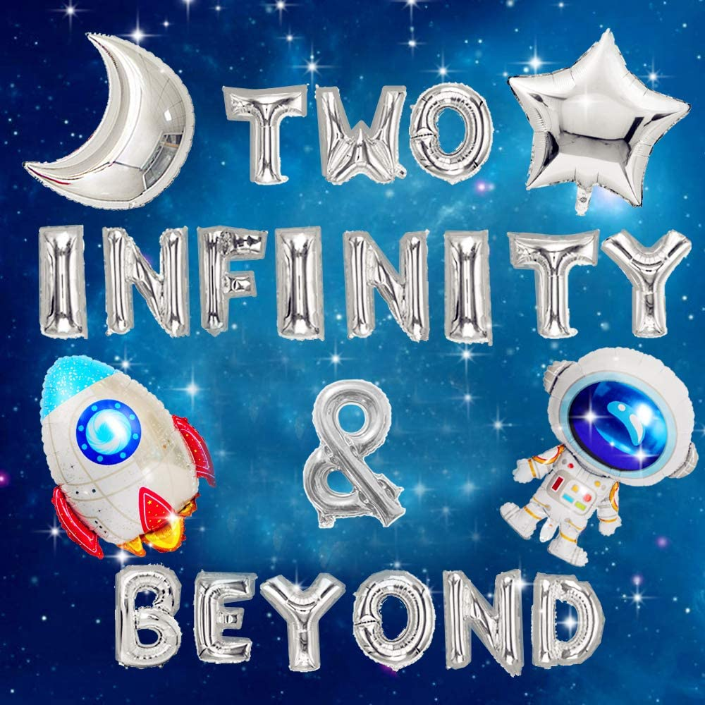 JeVenis 5 PCS Two Infinity /& Beyond Banner Space Party Decoration Two Infinity and Beyond Birthday Decoration Outer Space Balloons Rocket Balloons