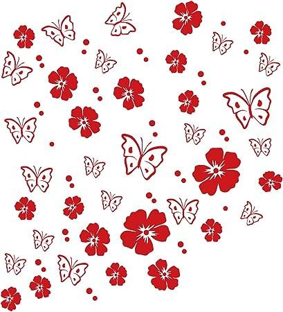 Kleb Drauf 19 Blüten 19 Schmetterlinge Und 42 Punkte Rot Glänzend Autoaufkleber Autosticker Decal Aufkleber Sticker Auto Car Motorrad Fahrrad Roller Bike Deko Tuning Stickerbomb Styling Auto