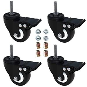 """AAGUT 2"""" Swivel Stem Casters with Brake Lock, Screwed Bolt 5/16""""- 18 x 1"""", Heavy Duty PU Rubber Wheels 4 Pack with Nuts"""