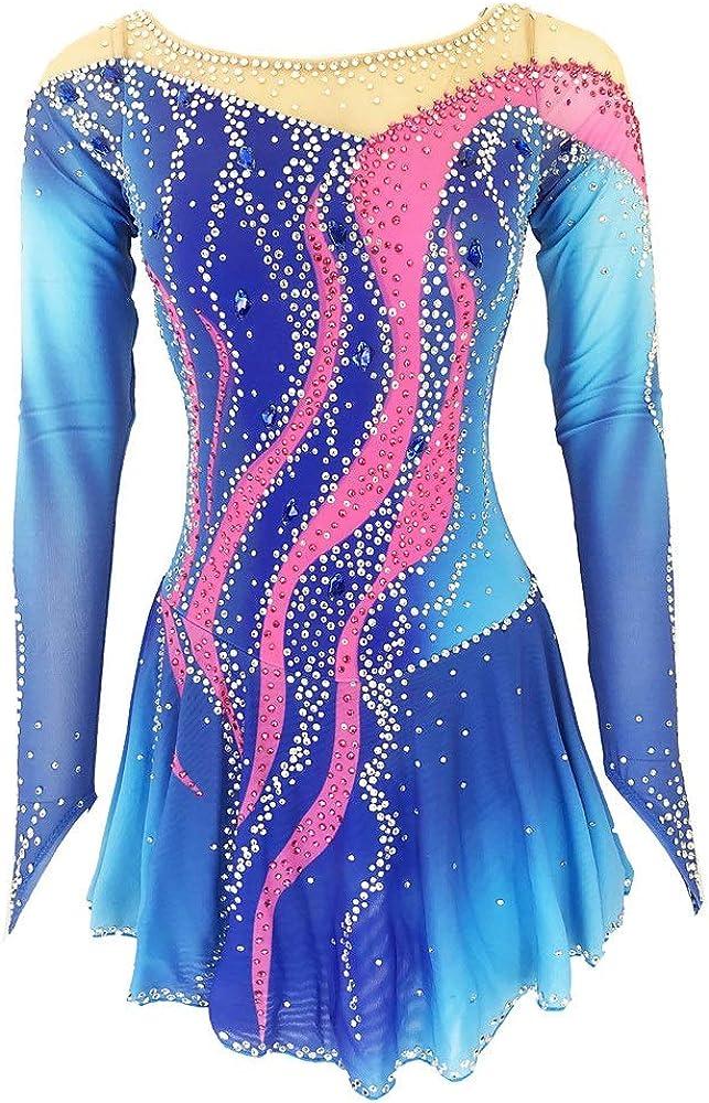 フィギュアスケートドレス女性 女の子用アイススケートドレスブルーオープンバックスパンデックス高弾性トレーニングスケートウェア無地クラシッククリスタルラインストーン長袖 ブルー M