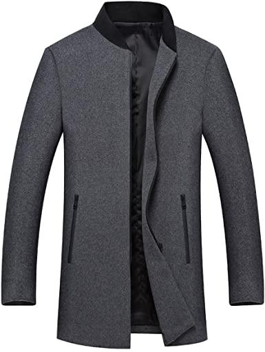 YOUTHUP Men's Coats Slim Fit Wool Pea Coat Hip-Length Winter Jackets  Full-Zip Thick Outwear: Amazon.co.uk: Clothing