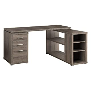"""MRT SUPPLY 60"""" Contemporary L Shaped Corner Computer Desk with Drawers, Dark Taupe with Ebook"""