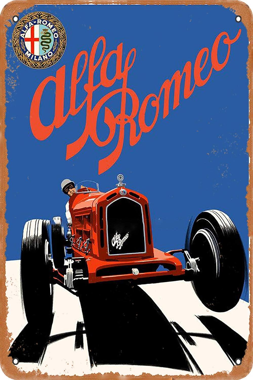 OSONA Racing Series Illustrazione Alfa-Romeo Milano Retro Nostalgico Arte Tradizionale Rustico Colore Latta Logo pubblicit/à Striking Wall Decorazione Regalo