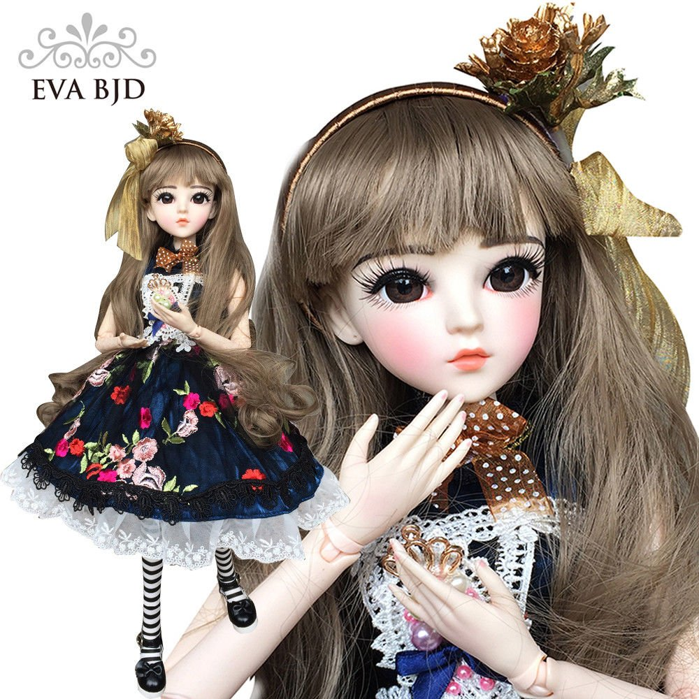 Daisy Dark Blue Dress 1/3 SD Doll BJD Dolls Full Set 60cm 24'' jointed dolls Toy Action Figure + Makeup + Accessory