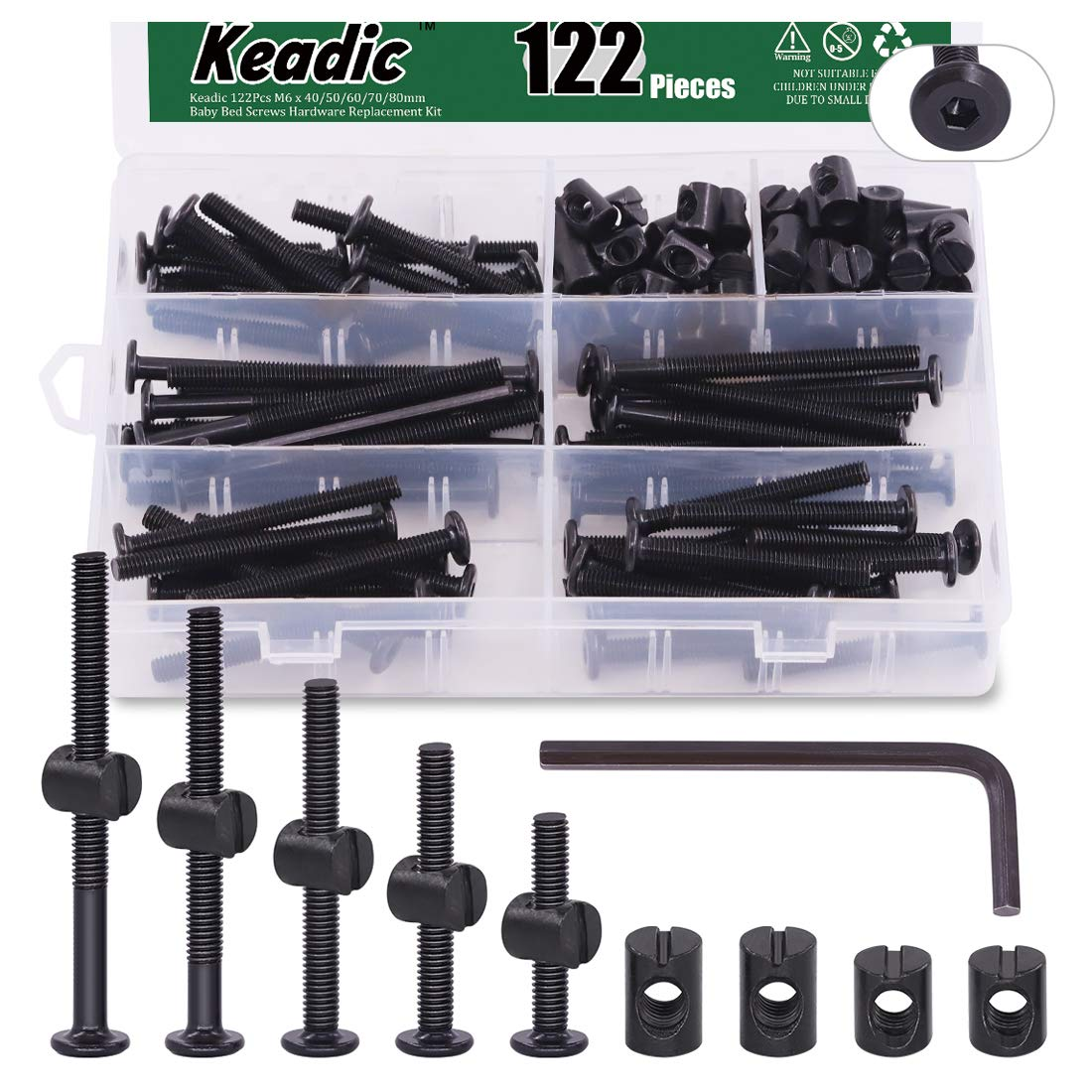 Keadic 122Pcs M6 x 40/50/60/70/80mm Baby Bed Screws Hardware Replacement Kit, Black Hex Socket Cap Bolts Barrel Nuts Assortment Kit for Furniture Cots Beds Crib, 1 Hex Key and Plastic Box for Free