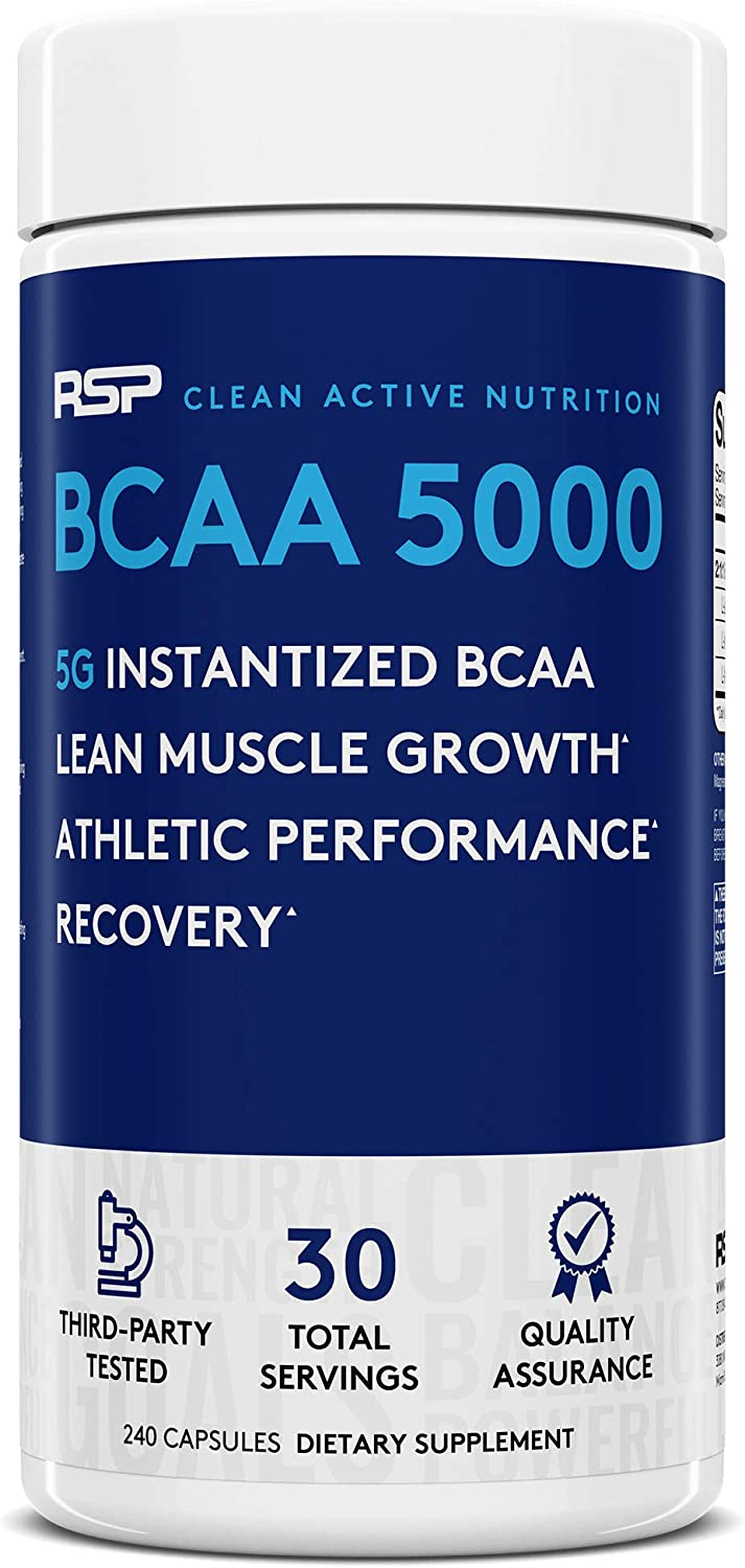 RSP BCAA 5000 30 Serv , Premium BCAA Capsules for Post Workout Muscle Recovery, Endurance Energy, 5g of Essential Branched Chain Amino Acids Per Serving Packaging May Vary