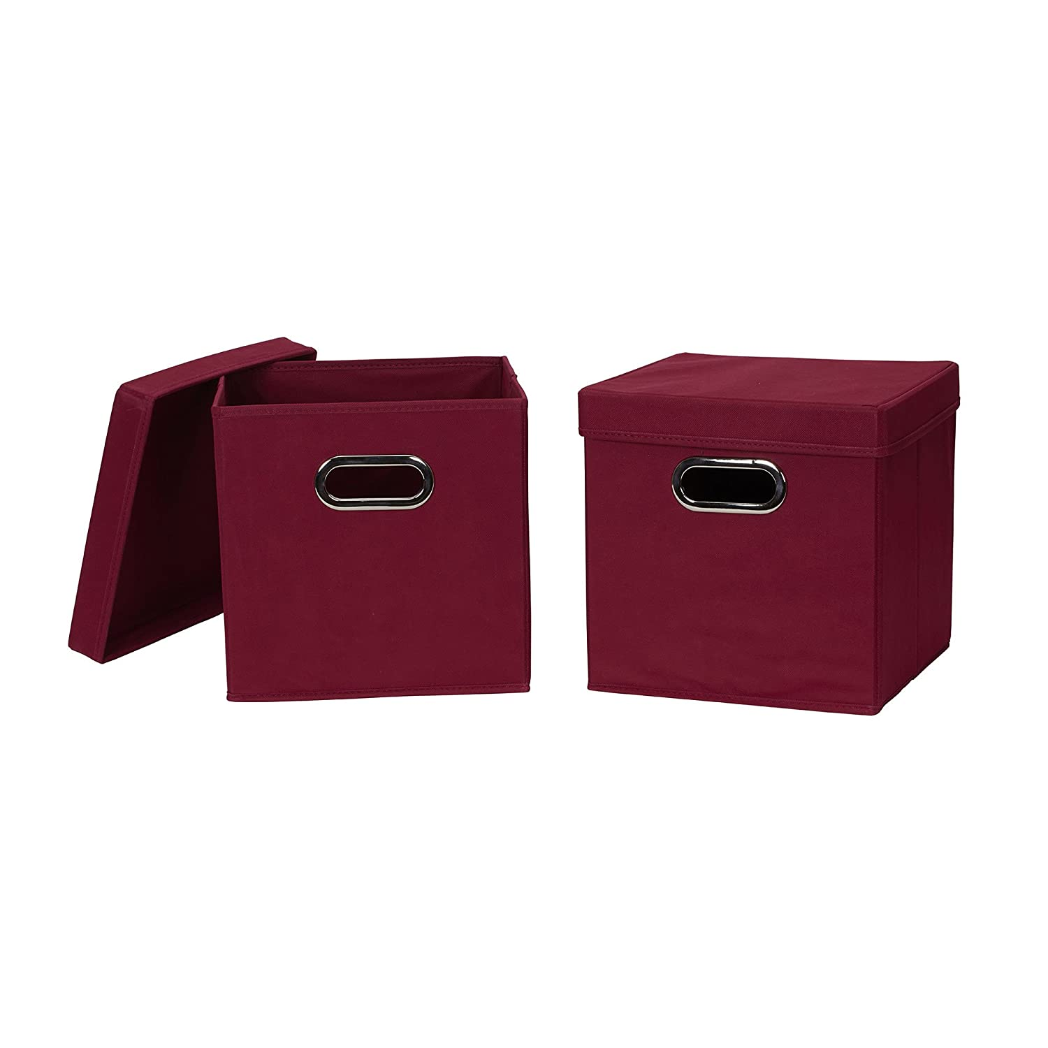Household Essentials 43 model Collapsible Fabric Storage Cube Bins with Lid, 2 Pack, Burgundy
