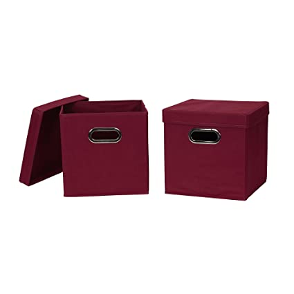 Household Essentials 43 model Collapsible Fabric Storage Cube Bins with Lid 2 Pack Burgundy  sc 1 st  Amazon.com & Amazon.com: Household Essentials 43 model Collapsible Fabric Storage ...