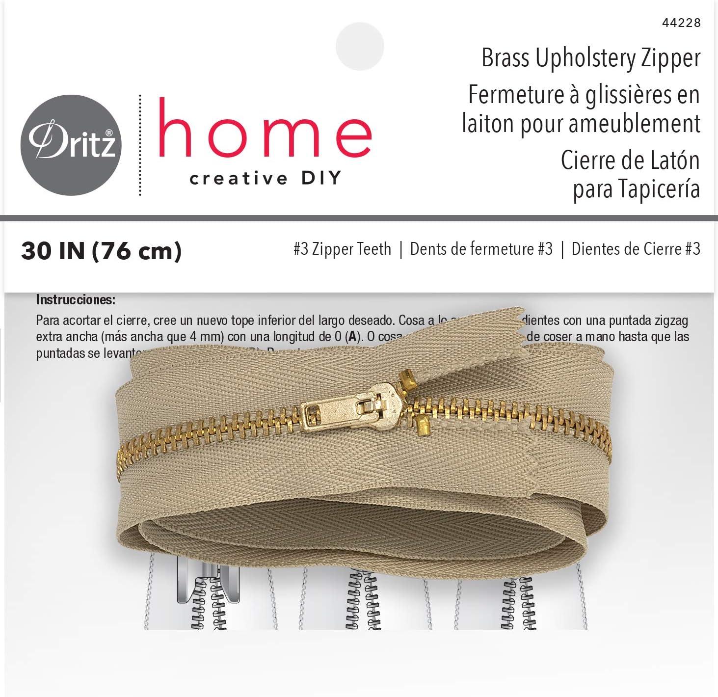 Dritz Home 44228 Brass Upholstery Zipper, 30-Inch, Beige