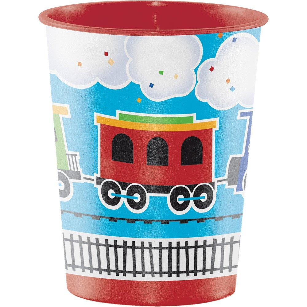Creative Converting 324349 All Aboard Boy's 1st Birthday Keepsake 16oz Plastic Treat Favor Cup Party Supplies 16 oz Multicolor
