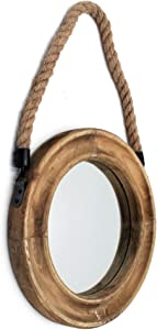 Rustic Round Decorative Mirror with Solid Wood Frame&Rope Hanging,Farmhouse Antique Wall Decor(9.9X9.9in)