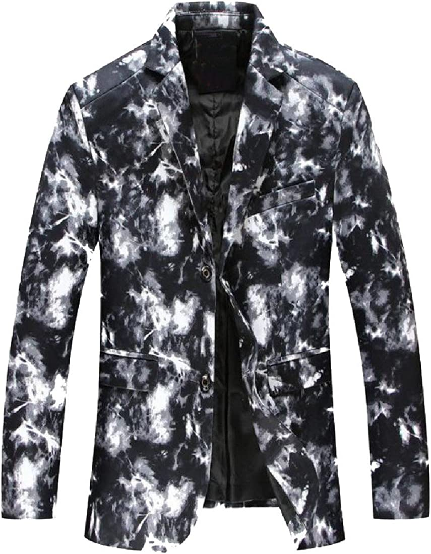 Doufine Mens 2 Button Camouflage Outwear Casual Non-Iron Blazer
