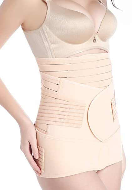 c100c4162c763 Image Unavailable. Image not available for. Color  Hioffer 3 in 1  Postpartum Support Recovery Belly Wrap Waist Pelvis Belt Body Shaper