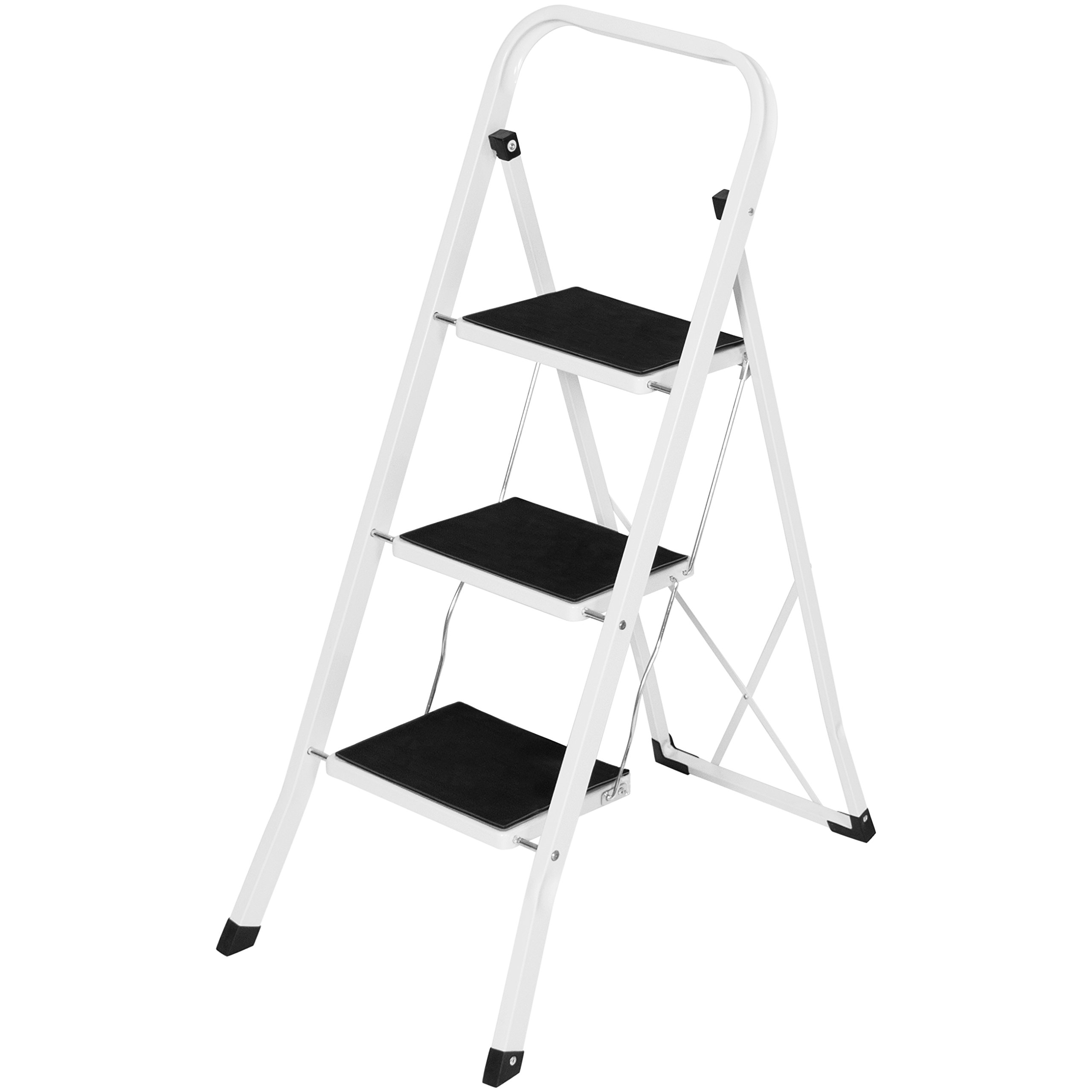 Best Choice Products Portable Folding 3 Step Ladder Steel Stool 300lb Heavy Duty Lightweight