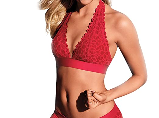 c83dcae1af Image Unavailable. Image not available for. Color  Victoria s Secret Red  Lace Halter Bralette ...