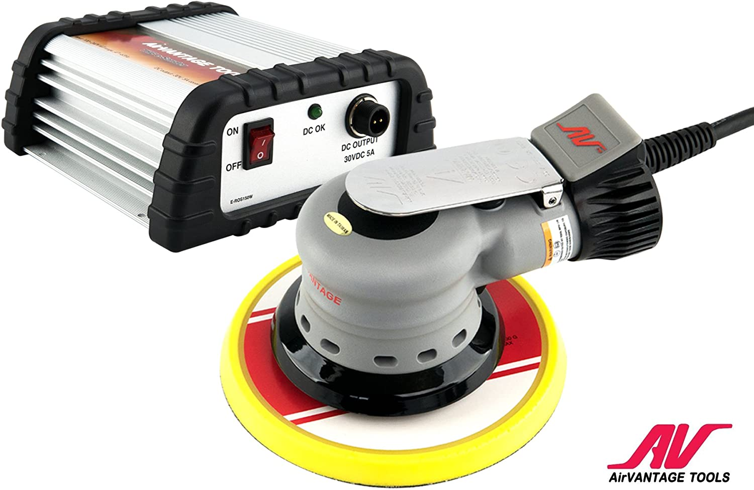 AirVANTAGE 5 Palm-Style, Industrial-Grade Electric Sander Kit with Power Supply Non-Vacuum- 3 16 Orbit Low-Profile PSA Vinyl Pad