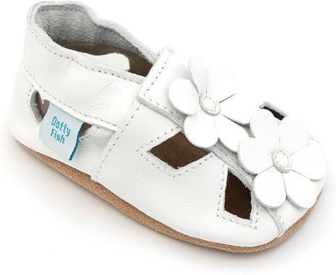 Antideslizante Blanco con Flamenco Rosa. Dotty Fish Zapatos de Cuero Suave para beb/és