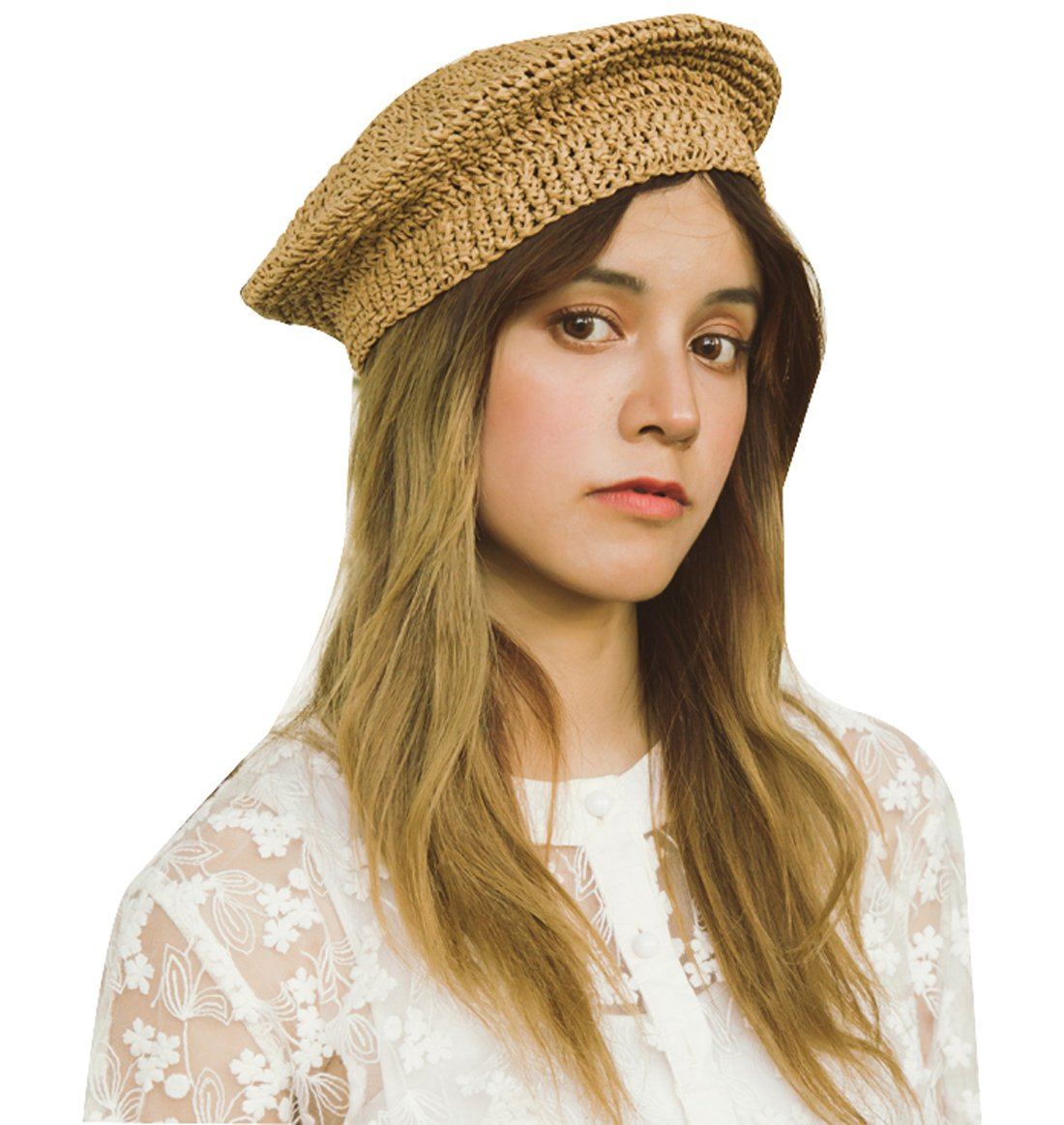 Clecibor Straw Beret Solid Plain Flat Top Woven Berets Fashion French Style Painters Hat Cap, Khaki