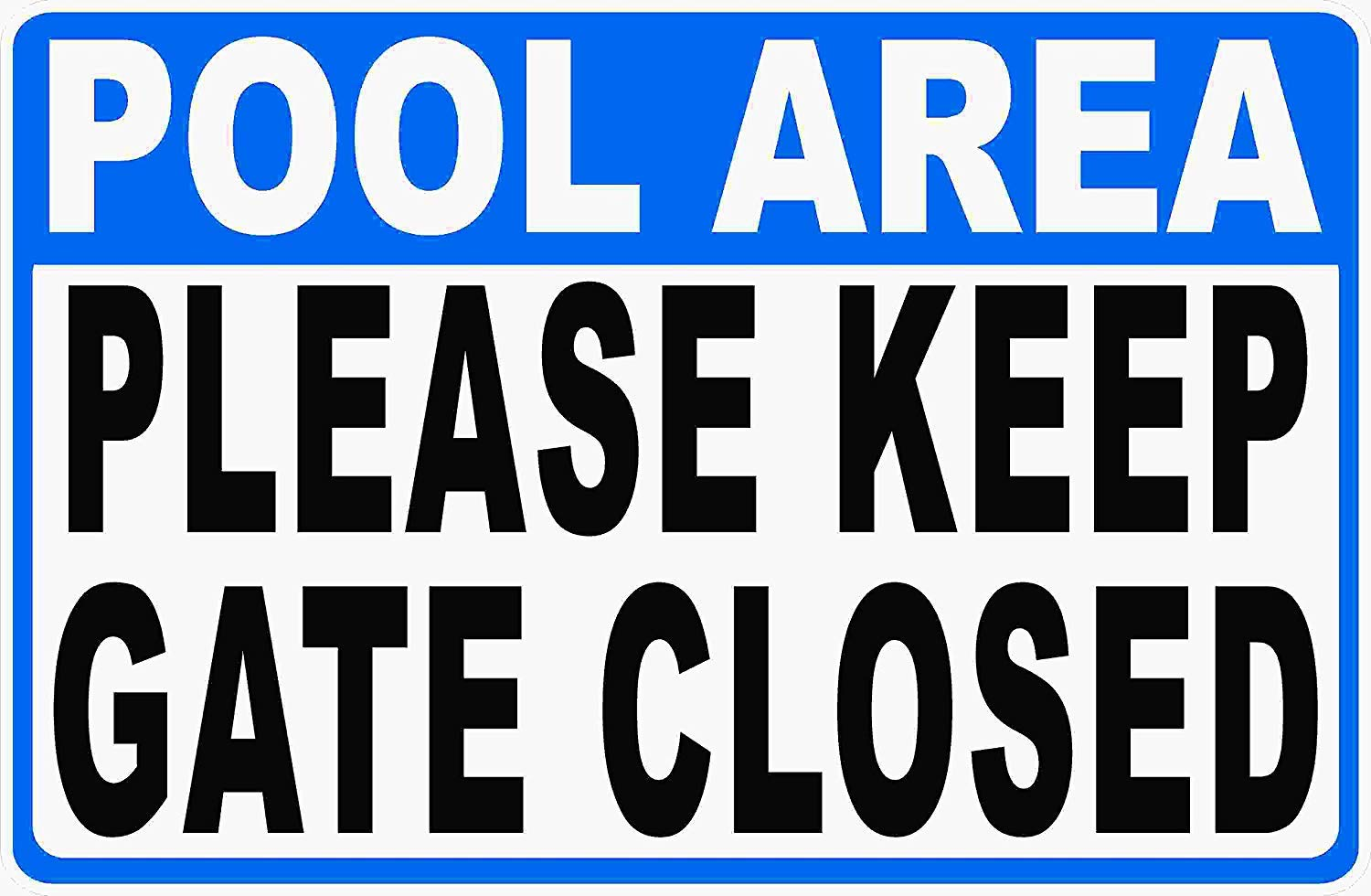 Eletina Case Wall Signs Pool Area Please Keep Gate Closed Sign 16x24 Metal Rules Pools Deck by Eletina Case