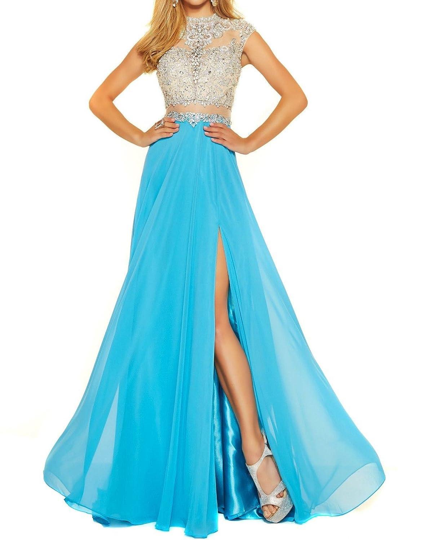 bluee MariRobe Women's Beading Evening Dress Split Illusion Prom Gown Sleveless Backless Dance Dress for Girls Pink