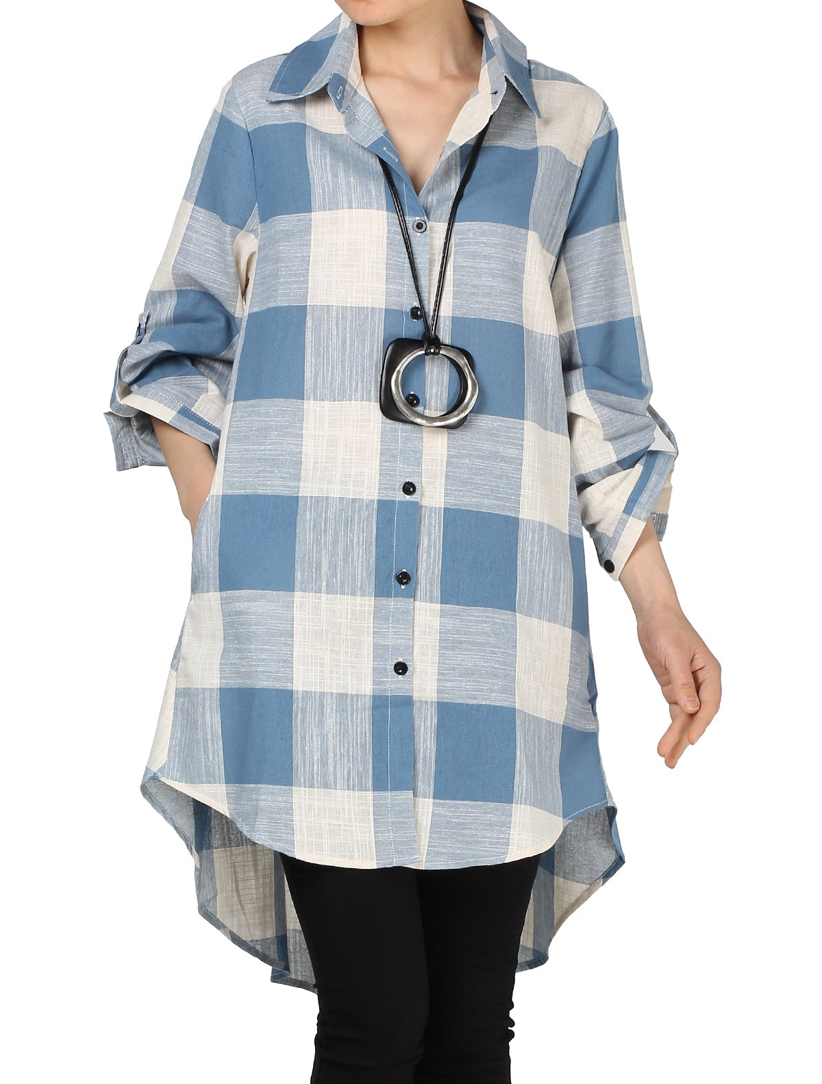 Mordenmiss Women's Loose Plaid Blouse Roll Tap Hi-Low Tunic Shirt Dress M Blue
