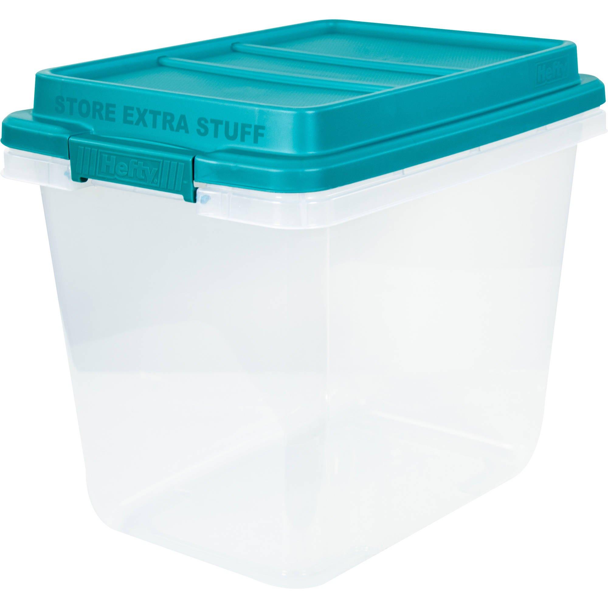 Hefty 32-Qt Hi-Rise Clear Latch Box, Teal Sachet Lid and Handles (4)