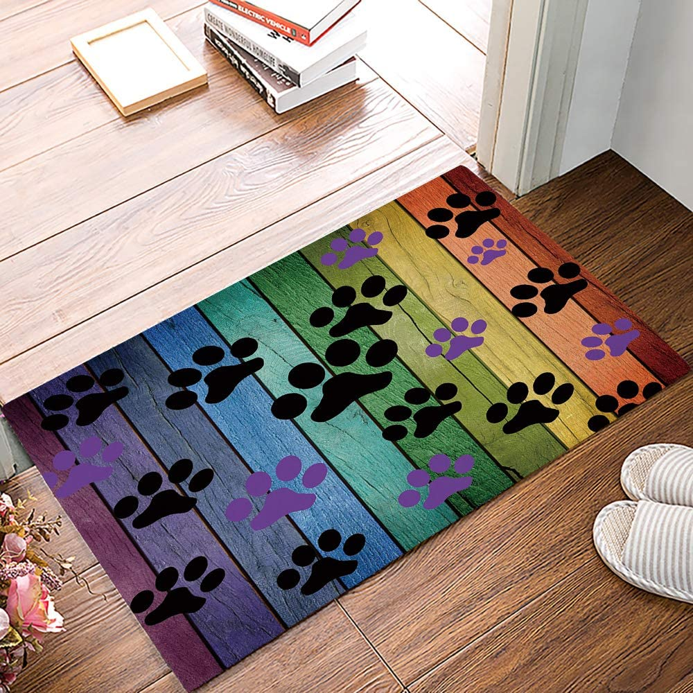 Arts Language Funny Doormats for Entrance Way Indoor Front Door Welcome Rugs Colorful Pet Dog Footprint Paw Rustic Wood Printed Non-Slip Bath Mat Kitchen Mat Floor Carpet for Bedroom/Office 16x24inch