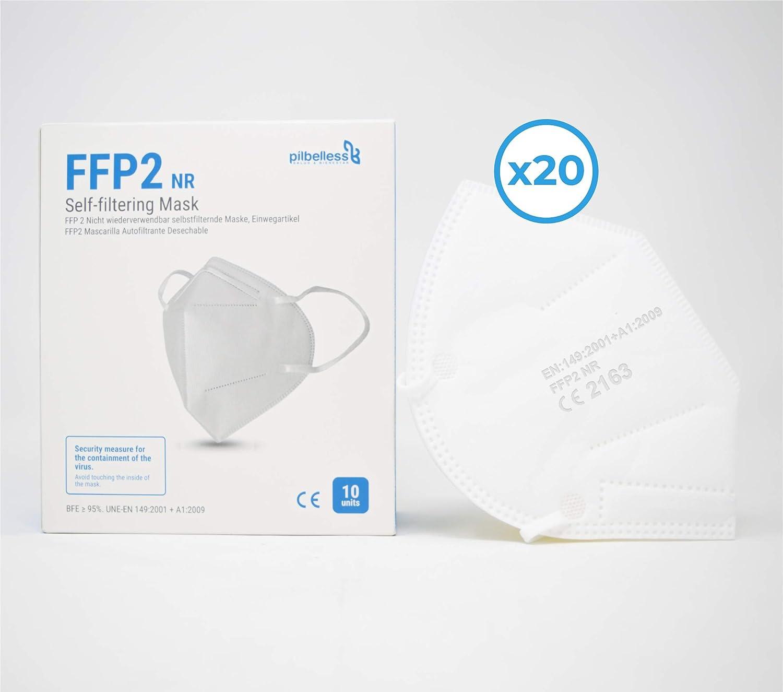 Mascarilla FPP2 - Caja 20 uds. Certificado CE - Ultraresistente ≥99% anti-filtración - individualmente embolsado - mascarilla desechable - Made in Spain