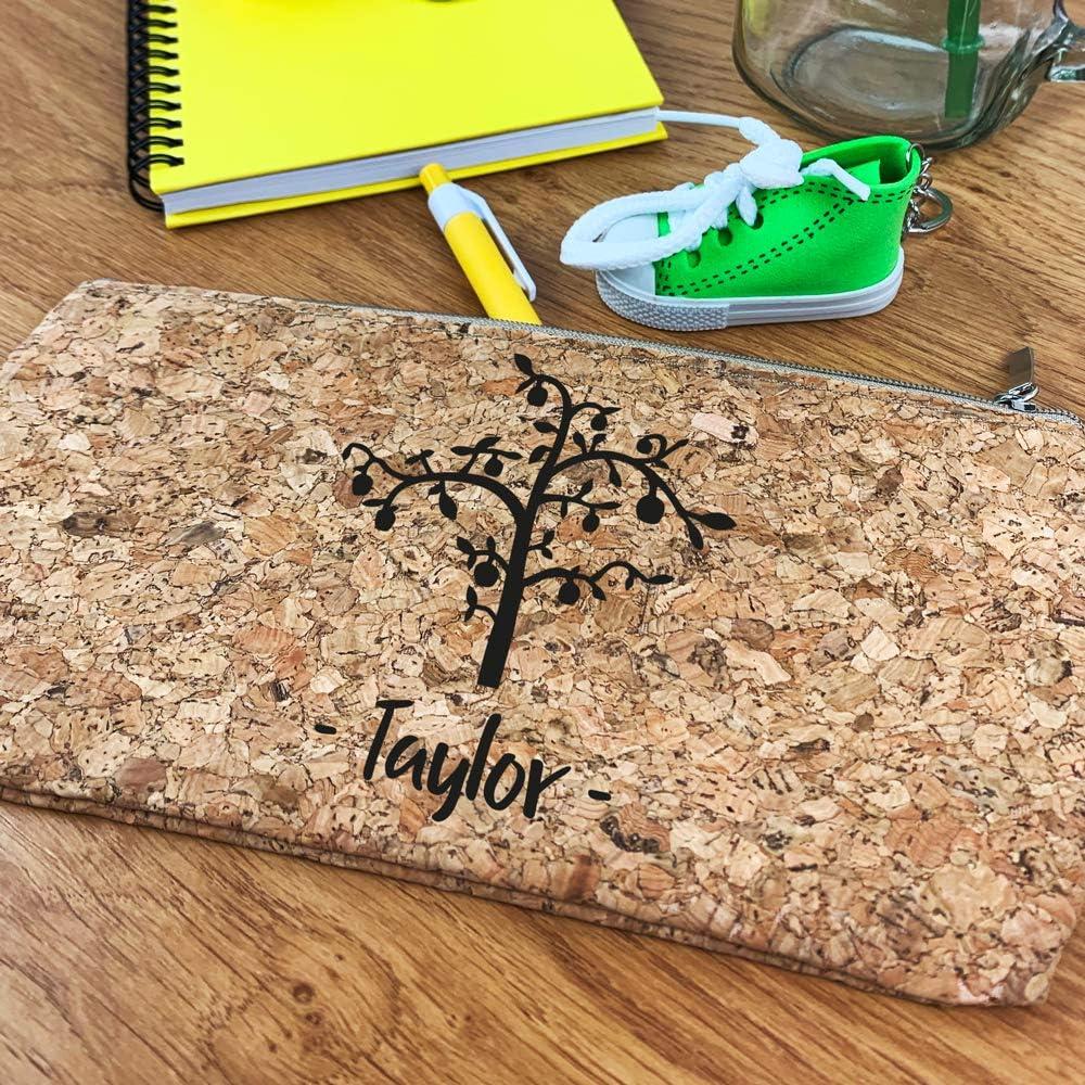 eBuyGB Estuche de corcho natural personalizado, bolsa de maquillaje ecológica grabada, bolsa de viaje, bolsa de viaje, cumpleaños, San Valentín, regalo de profesor de Navidad | Nombre personalizado: Amazon.es: Oficina y papelería