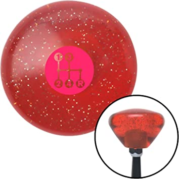 Pink 4 Speed Shift Pattern - Dots 6 Orange Retro Metal Flake American Shifter 288778 Shift Knob