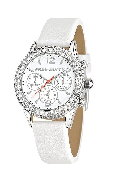 Miss Sixty R0751103501 - Reloj para mujer de cuero Resistente al agua blanco: Amazon.es: Relojes
