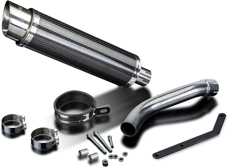 Delkevic Aftermarket High Level Slip On compatible with Suzuki SV650 DL10 14 Carbon Fiber Round Muffler Exhaust 03-12