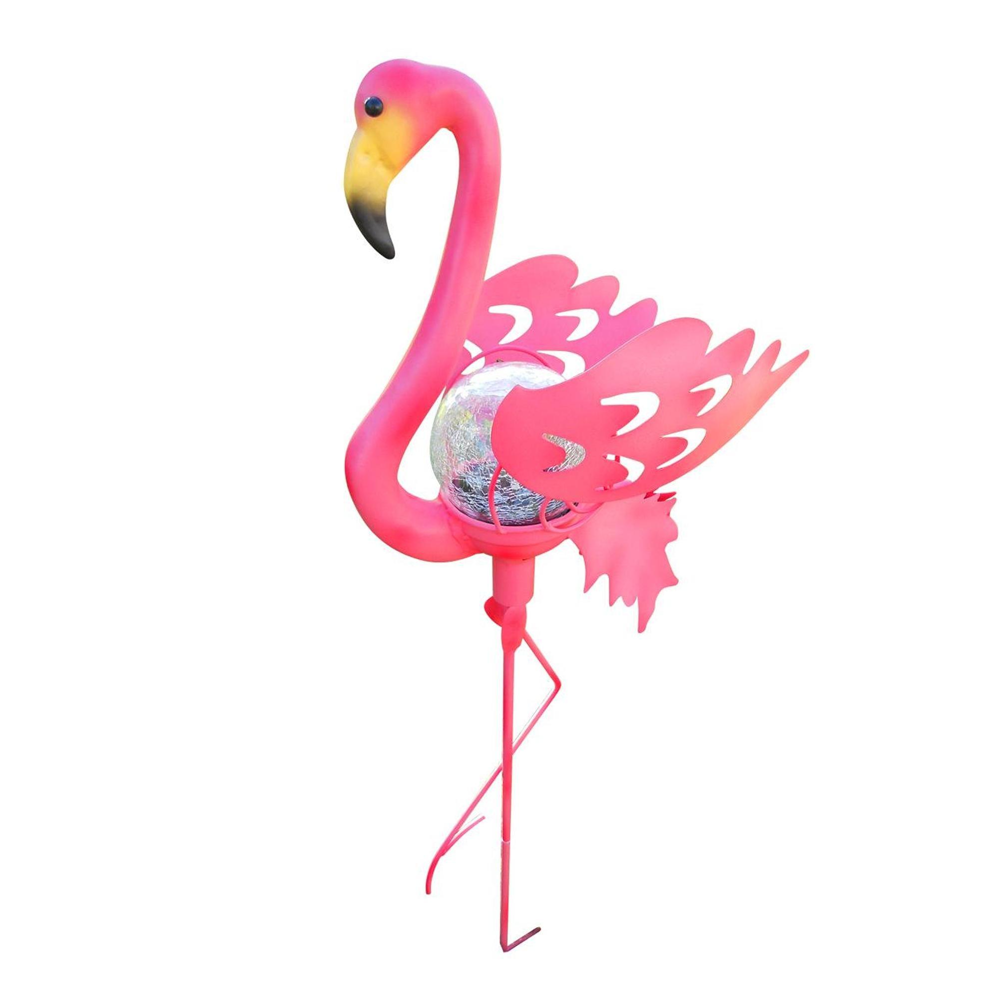 Creative Motion Flamingo Garden Stake Glass Crackle Solar Light, Pink
