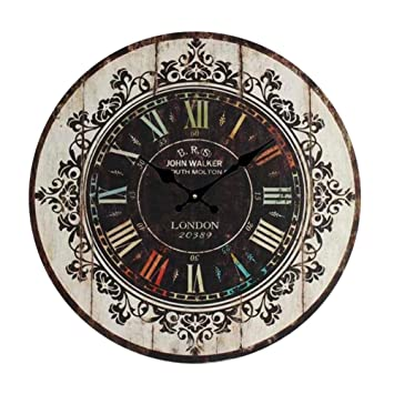 Round Vintage Wall Clock MDF Wooden Silent Old Fashion Elegance Art Waterproof Decorative for Home Living