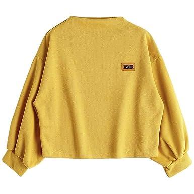 Riou Damen Bluse Pulli Sweatshirt Pullover Elegante Blusen Oberteil  Langarmshirt, Mode Frauen Langarm Druck Kordelzug Hoodie Sweatshirt Bluse  Top  ... 75724e0806