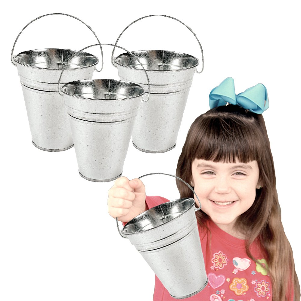Toy Cubby Galvanized Large Metal Buckets 6 Pieces