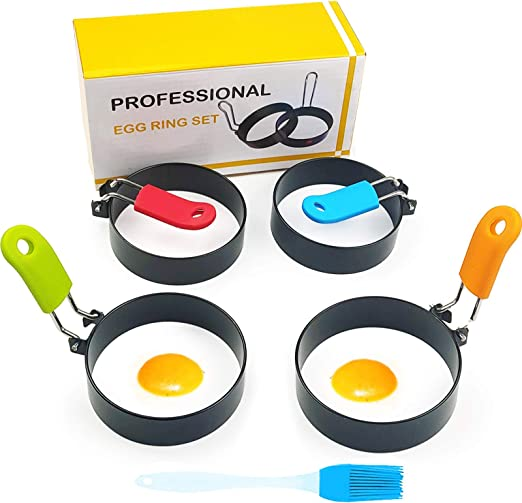 Egg Ring, HengLiSam Round Egg Ring Set with Anti-scald Handle For Frying Or Shaping Eggs-Stainless Steel Non Stick Metal Circle Shaper Mold,Egg Maker Molds 4 Pack with oil brush