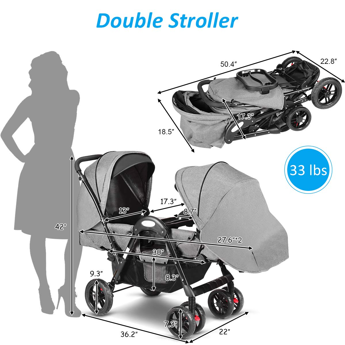 Costzon Double Stroller, Baby Face to Face Carriage with Sleep/Sit/Recline Seat, 5-Point Safety Harness, Detachable Food Tray, Large Storage Space, Gray by Costzon (Image #4)