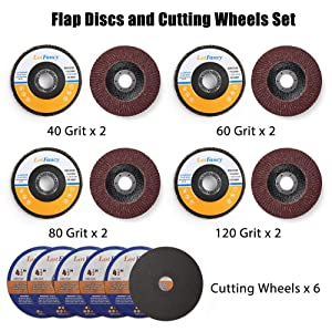 14PCS 4.5 Inch Flap Discs And Cutting Wheels Set by LotFancy - 40 60 80 120 Grit Assorted Sanding Grinding Wheels, Metal Cut off Wheels for Angle Grinders, Aluminum Oxide Abrasives, Type #27 (Color: Aluminum Oxide, Brown)