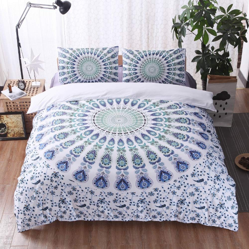 Duvet Cover Set Polyester Fiber Bedding 3 Pieces Bohemian White Green Printing Quilt Covers with Zipper Closure for Home Hotel,200×230cm by ZTXY