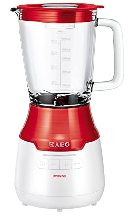 AEG SB 3300 - Batidora con tecla para picar hielo, efecto Vortex y jarra de cristal de 1 litro, color rojo y blanco: Amazon.es: Hogar