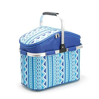 Lunch totes for women Waterproof Bag Pack Leapfrog Shapes and Sharing Picnic Basket Take it Camping, Picnicking, Lake Trips, or Family Vacation (Blue stripes): Kitchen & Dining