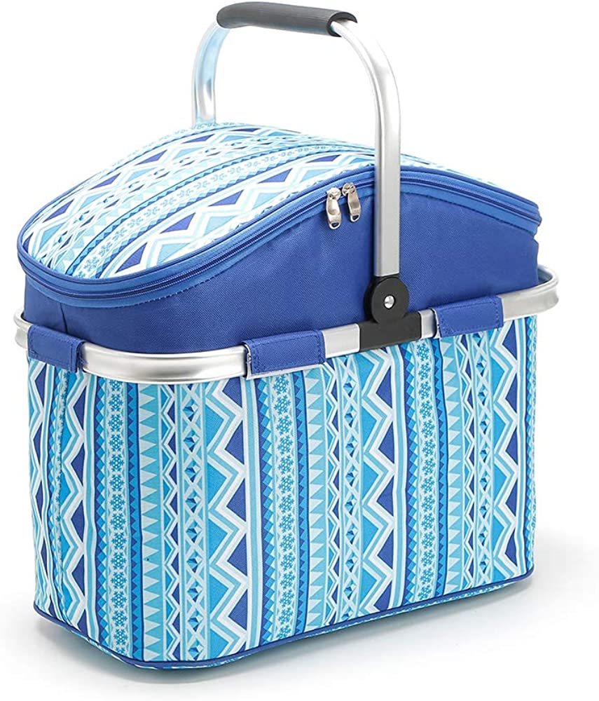 Lunch totes for women Waterproof Bag Pack Leapfrog Shapes and Sharing Picnic Basket Take it Camping, Picnicking, Lake Trips, or Family Vacation Blue'stripes
