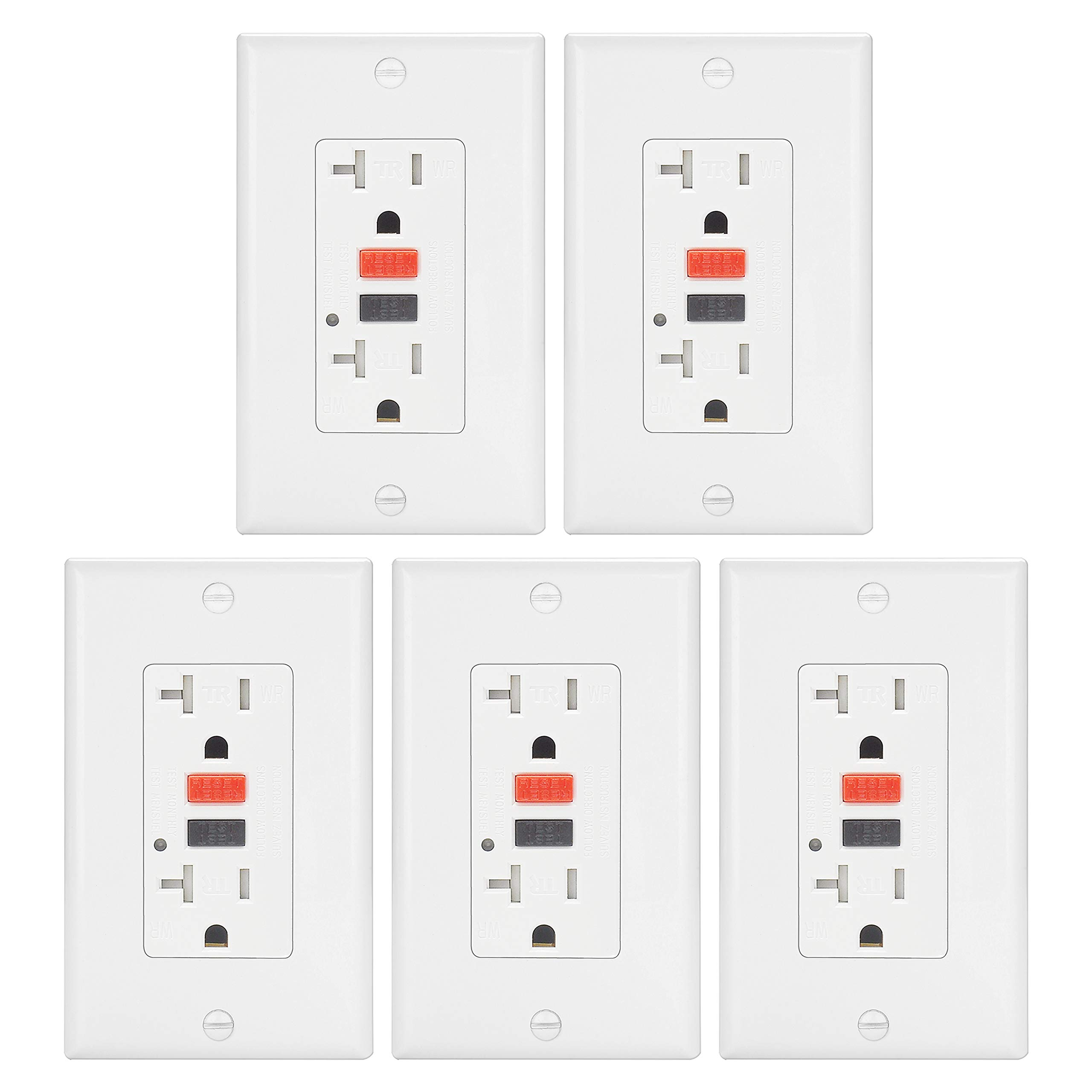 ELECTECK 20A WR GFCI Outlet, TR GFI Receptacle with LED Indicator, Weather and Tamper Resistant, Decorator Wall Plate Included, Residential and Commercial, ETL Certified, White, Pack of 5