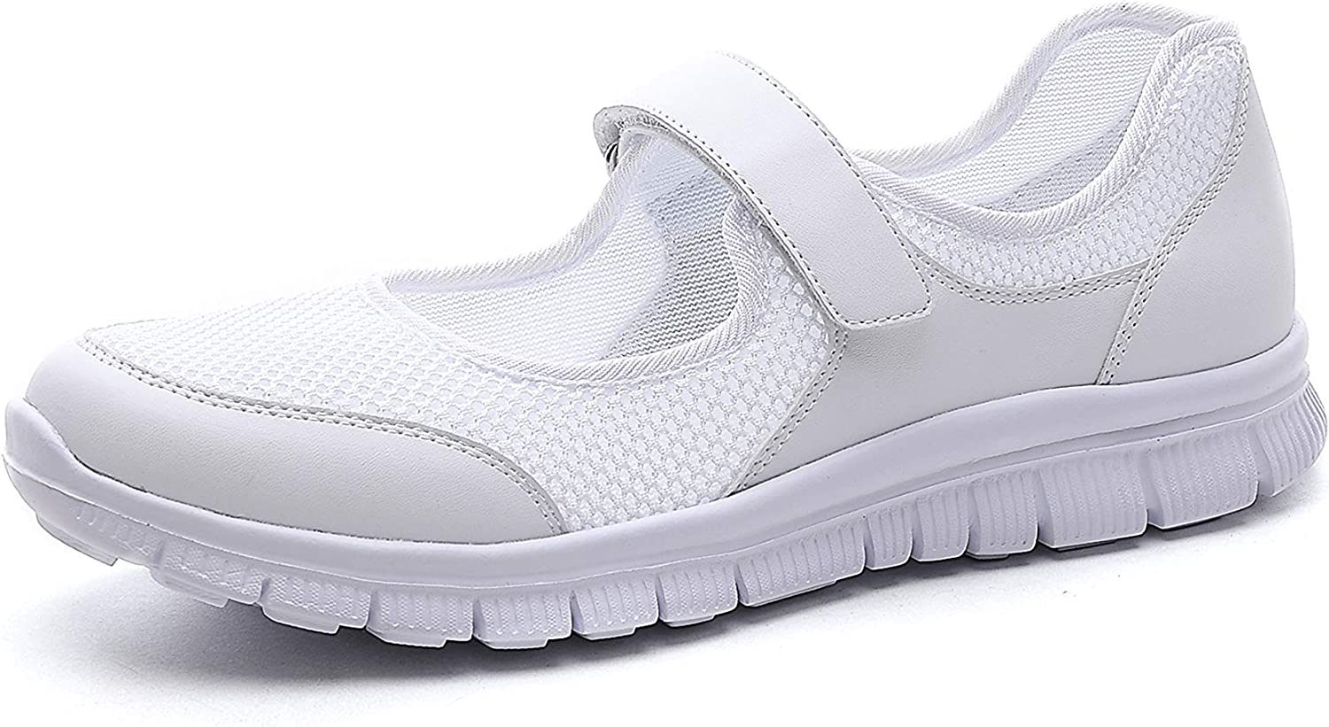 1 Wei/ß Hishoes Womens Mesh Walking Shoes Ladies Shock Absorbing Sandals Wedge Lightweight Mary Janes Trainers Fitness Sports 7 UK